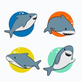 Coleção de personagens de tubarão bebê design plano