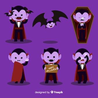 Coleção de personagens de vampiro colorido com design liso