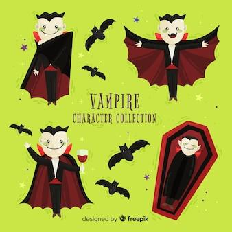 Coleção de personagens de vampiro halloween em posições diferentes