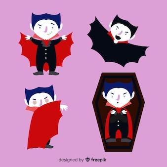 Coleção de personagens de vampiro mão desenhada