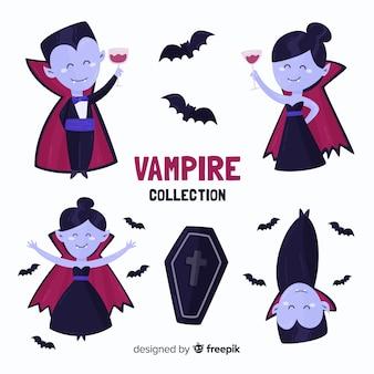 Coleção de personagens de vampiro plana
