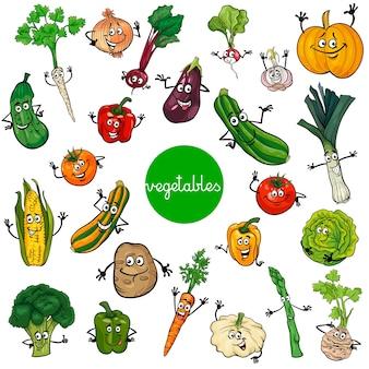 Coleção de personagens de vegetais de desenhos animados