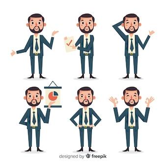 Coleção de personagens de vendedor em diferentes posições