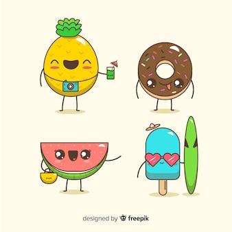 Coleção de personagens de verão kawaii bonito