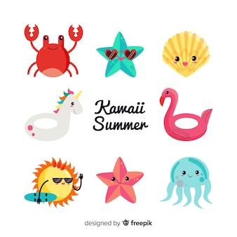 Coleção de personagens de verão kawaii