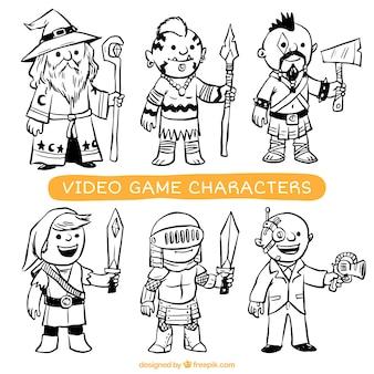 Coleção de personagens de videogame desenhados à mão