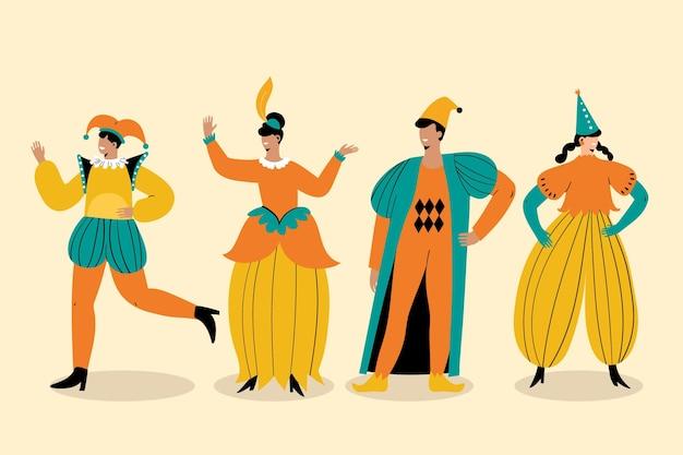 Coleção de personagens do carnaval italiano desenhada à mão