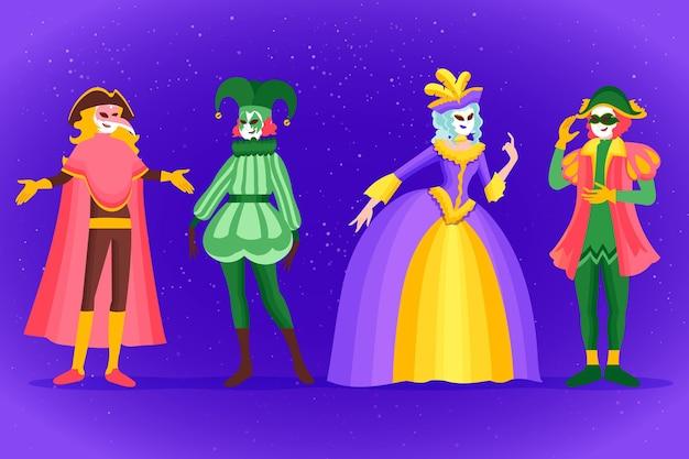 Coleção de personagens do carnaval veneziano desenhada à mão Vetor Premium