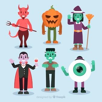 Coleção de personagens do dia das bruxas no design plano