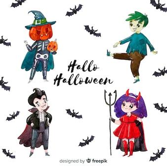 Coleção de personagens do halloween em aquarela