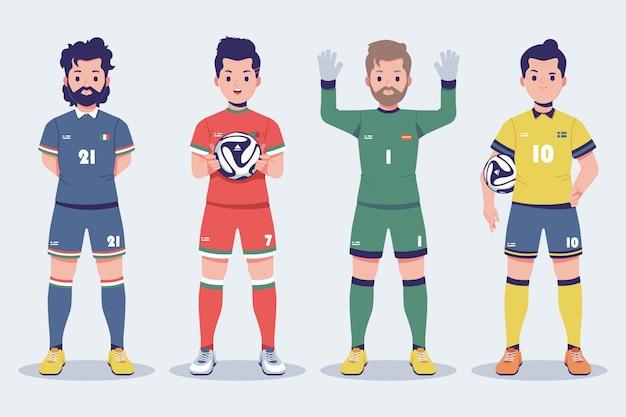 Coleção de personagens do jogador de futebol euro 2020