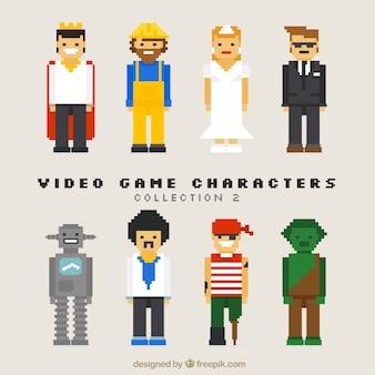 Coleção de personagens do jogo agradável de vídeo