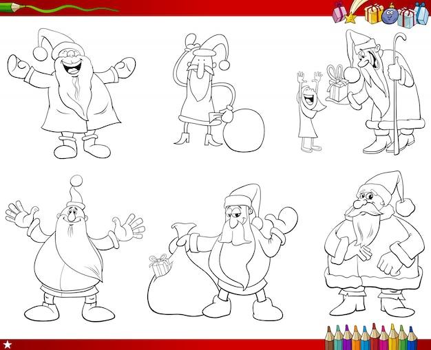 Coleção de personagens do papai noel coleção de colorir livro