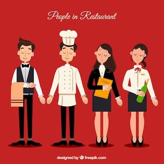Coleção de personagens do restaurante