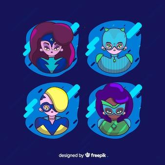 Coleção de personagens do super-herói feminino