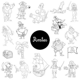 Coleção de personagens dos desenhos animados pirata