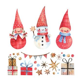 Coleção de personagens e elementos de natal desenhados à mão em aquarela duendes de natal