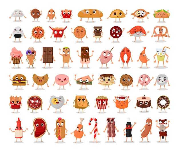 Coleção de personagens engraçados de comida