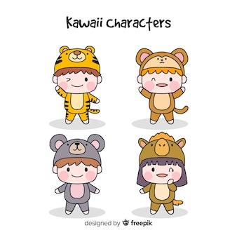 Coleção de personagens engraçados de mão desenhada