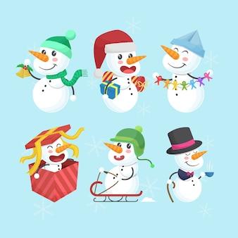 Coleção de personagens engraçados e fofos do boneco de neve de natal