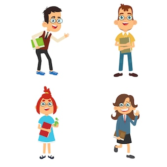 Coleção de personagens engraçados nerds e geeks dos desenhos animados.