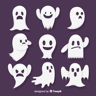 Coleção de personagens fantasma de halloween com design plano