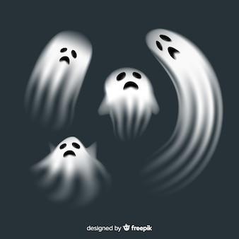 Coleção de personagens fantasma de halloween com design realista