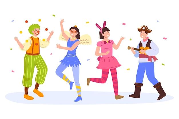 Coleção de personagens felizes do carnaval desenhada à mão