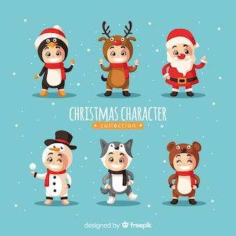 Coleção de personagens fofinhos de natal em design plano