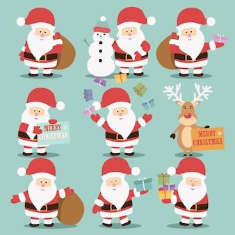 Coleção de personagens fofinhos de Papai Noel com renas
