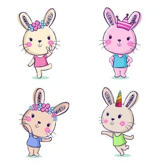 Coleção de personagens fofinhos kawaii de mão desenhada