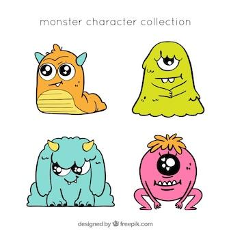Coleção de personagens fofinhos monstros