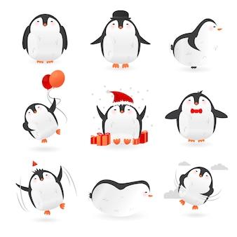 Coleção de personagens fofinhos pinguins
