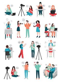 Coleção de personagens humanos do blogger