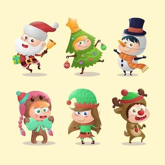 Coleção de personagens infantis de natal usando fantasias