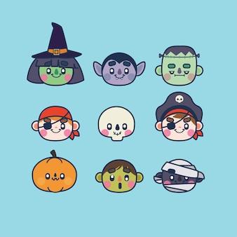 Coleção de personagens kawaii halloween