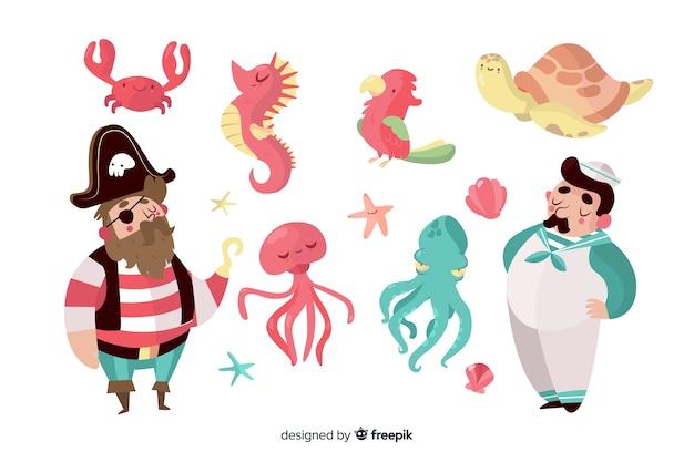 Coleção de personagens marinhos de mão desenhada