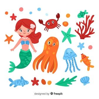 Coleção de personagens marinhos planas