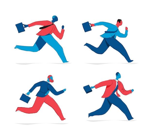 Coleção de personagens masculinos de empresários correndo com uma mala