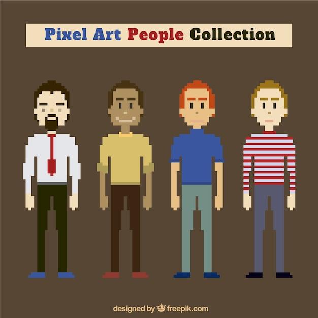 Coleção de personagens masculinos no estilo pixel art