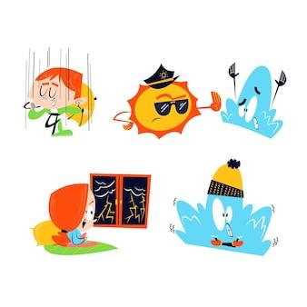 Coleção de personagens meteorológicos de desenho animado