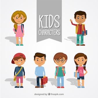 Coleção de personagens miúdo