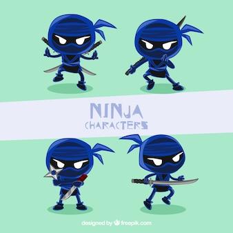 Coleção de personagens ninja azul escuro