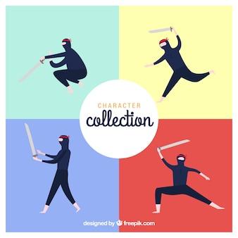 Coleção de personagens ninja com design plano