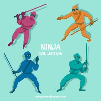 Coleção de personagens ninja em cores diferentes