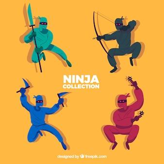 Coleção de personagens ninja em quatro cores