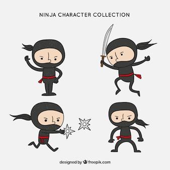 Coleção de personagens ninja mão desenhada original