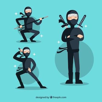 Coleção de personagens ninja mão desenhada