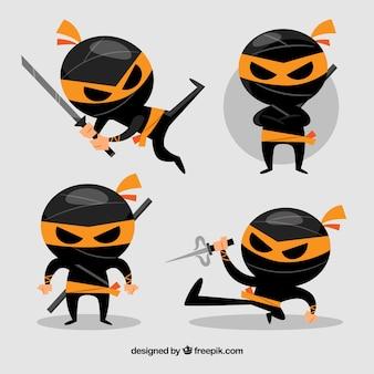 Coleção de personagens ninja preto