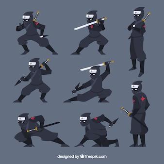 Coleção de personagens ninjas com poses diferentes